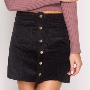 She + Sky Black Corduroy Skirt